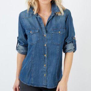 Cloth & Stone Anthro Chambray Button Down Shirt XS